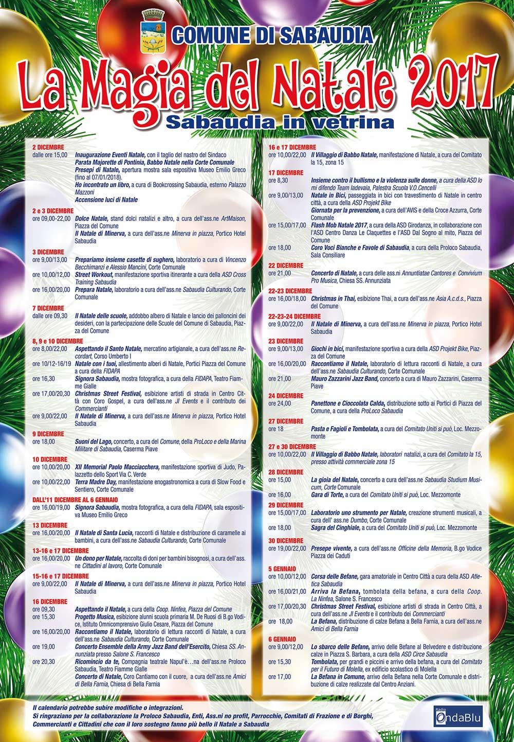 Sabaudia. La magia del Natale, inaugurato il calendario di eventi