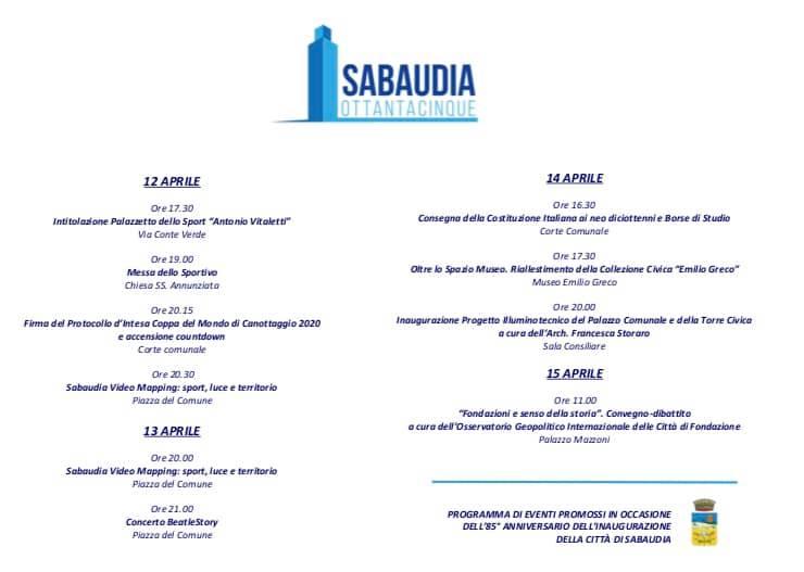 4 giorni di festa per celebrare 85esimo anniversario inaugurazione di Sabaudia