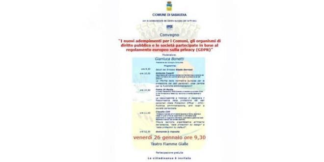 Sabaudia. Protezione dei dati personali: il 26 gennaio il convegno promosso dal Comune con il Centro Europeo per la Privacy