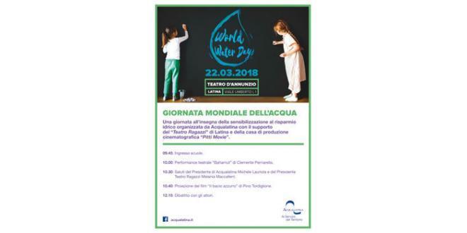Giornata Mondiale dell'Acqua 2018: Acqualatina porta a teatro gli studenti delle scuole primarie