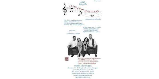 """""""I Lieder di Schumann"""" dal 30 maggio al 3 giugno al Teatro Trastevere a Roma"""