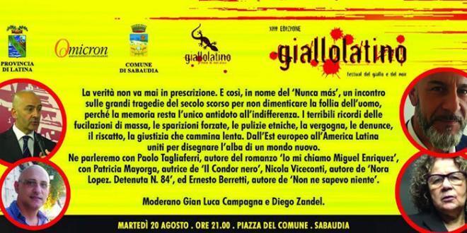 Giallolatino: martedì 20 agosto chiusura del festival con ospite d'onore